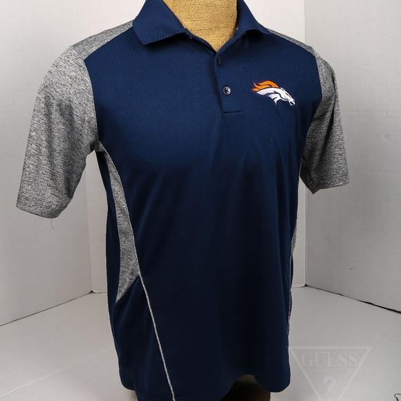 Men s Medium Denver Broncos polo blue   grey bd7b6ebc7